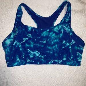 Blue tie dye sports bra